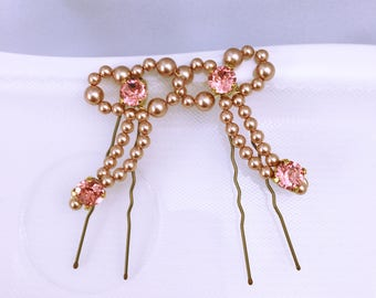 Rose gold wedding hair pins / bridal hair accessory / pink gold color Haircomb