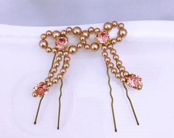 Pics à chignon Mariage rose gold / accessoire coiffure Mariage/ Haircomb color pink gold