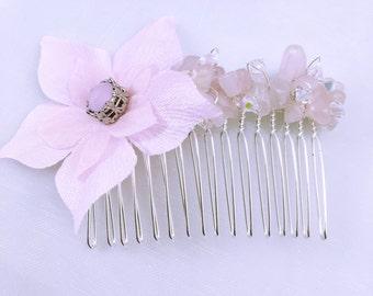 Light pink flower wedding hair comb / Wedding hair comb flower