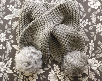 SALE! 25% OFF Light Gray Scarf with Stay Put Opening. Baby Scarf. Pom Pom Scarf. Gray Scarf. Hand Knit Scarf. Knit Baby Scarf. Pompom Scarf