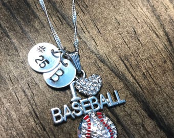 Personalized I Love Baseball Necklace Hand Stamped Necklace, Baseball Jewelry, Sports Jewelry, Sports Necklace