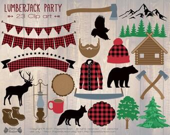 Lumberjack clip art, 23 woodland clip art, lumberjack birthday clip art, lumberjack party clip art