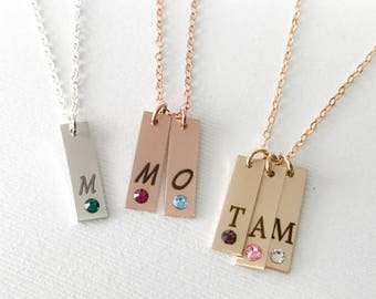 Initial Bar Necklace with Birthstone / Birthstone necklace for mom / Gold Bar Necklace Engraved / Personalized Initial Bar Necklace