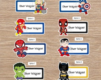 Super Hero School name labels • Labels for school • School labels • Stickers for kids • This belong to stickers • labels school supplies
