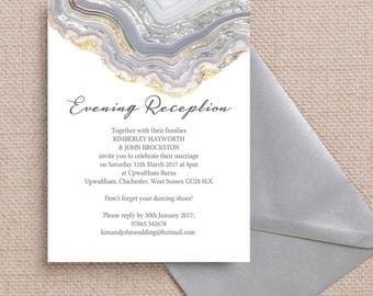Personalised Agate Crystal Silver Grey Evening Wedding Reception Invitation with envelope