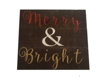 Merry & Bright Wood Pallet Sign