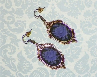 Purple Victorian Earrings Gothic Black Cameo Rose Vintage Style Steampunk Dangle Antique Gold