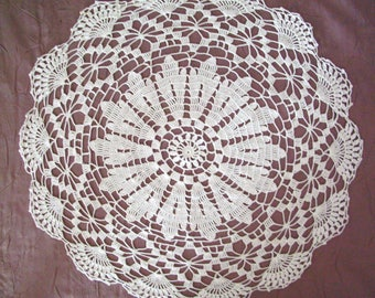 Handmade white lace doily