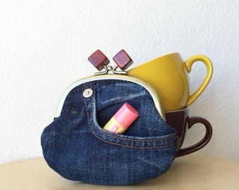 ONE OFF-Coin Purse up-cycled denim