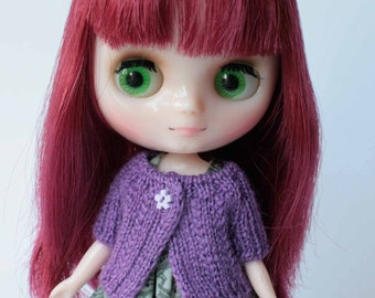 Middie blythe clothes, Lilac middie blythe outfit, Blythe knit, Short summer cardigan, Middie blythe accessory, Mini clothes, Doll knit gift