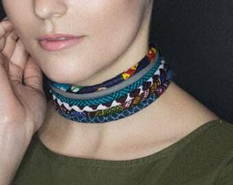 The Blue Sea Multistrand Choker - wax print choker - neck ring  - fabric choker - blue choker - blue fabric choker - African choker