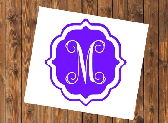 Free Shipping-Cursive Vine Monogram Decal, Yeti Decal, Vine Circle Monogram, Personalized, Cooler, Yeti, Laptop, Back to School Sticker