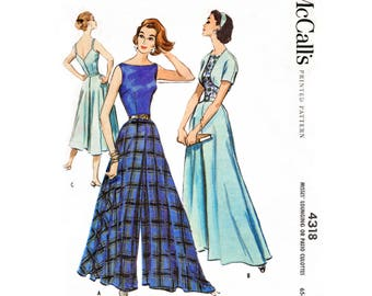 1950s 1960s wide leg trousers // palazzo pants jumpsuit & bolero // vintage sewing pattern reproduction // Bust 32 34 36 38 40