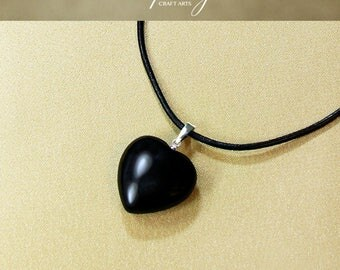 Protection pendant, Black Obsidian pendant necklace,Heart shape Obsidian pendant,Protection Jewelry,Negativity Neutralizer,InfinityCraftArts