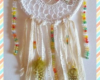 "Small Dreamcatcher ""White Butterfly"" crocheted white cotton with lace, feathers and beads"