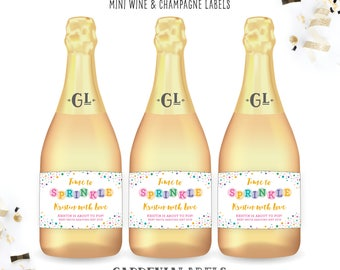 Baby Sprinkle Miniature Champagne Label, Baby Shower Favor Decor, Baby Sprinkle Invite, Pop when you get the News Baby Shower Miniature Wine