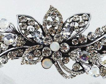 New Clear Crystal Cluster Floral & Rhinestone Hair Barrette 3 1/2'' - Leverback