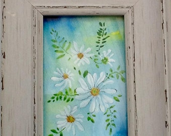 Daisies, watercolour Daisy painting, original watercolour, signed painting, daisies and leaves, home decor , garden picture, wall art,