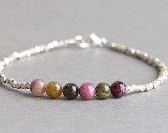 Watermelon Tourmaline Bracelet Beaded Bracelet Gemstone Bracelet Stacking Bracelet Hill Tribe Silver Bracelet