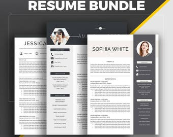 Professional Resume Template, CV Template, Cover Letter, Creative Modern Resume Bundle, 1 - 3 Page Word Resume, Instant Download, Amanda MB