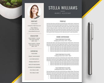 Professional Resume Template, CV Template,  Modern Resume Bundle, Creative Simple Resume, Cover Letter, Instant Download, MS Word, Stella W