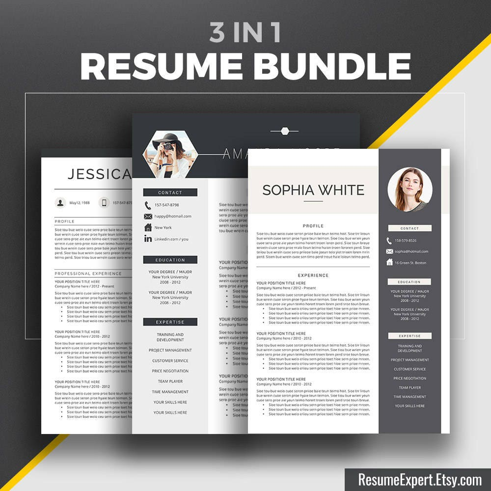 Professional Resume Template Bundle Cover Letter Cv: Professional Resume Template Bundle Cover Letter References