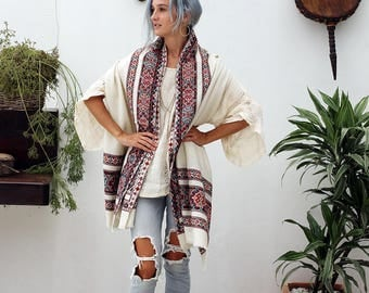 Off White Wool Shawl With Tribal Embroidery, Large Shawl Wrap, Winter Accessories, Ethnic Indian Tribal Shawl