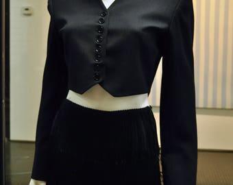 Norma Kamali Black wool buttoned crop bolero jacket