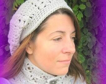 Designer hand crocheted grey Beanie