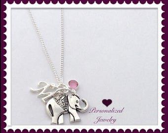 Silver Elephant Charm Necklace, Women's Personalized Elephant Necklace, Long Elephant Necklace, Birthstone Elephant Necklace, Elephant Gifts