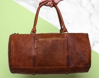 Leather Duffel - Monogram Duffel - Personalized Duffel Bag - Barrel Bag - Mens & Women's - Handmade Overnight Bag