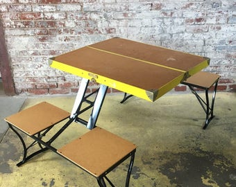 1950s portable folding picnic bench u0026 table set built into itu0027s own suitcase fits - Picnic Tables For Sale