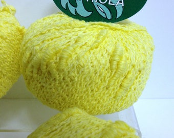 Fancy Cotton Yarn, Vintage Textured Yarn Skeins, Capriola Yellow Cotton Craft Destash Yarn Made in Italy for Fiber Art Project & Knitting