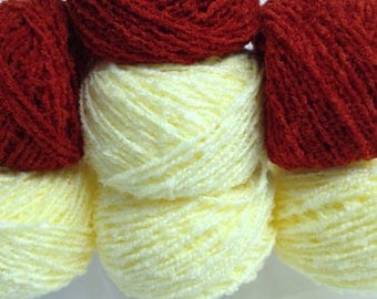 Sunset Orange Boucle Yarn Cakes Bundle, Bright Yellow Boucle Yarn, Textured Yarn for Crocheting & Fiber Art, Nubby Yarn Craft Supply Yarn