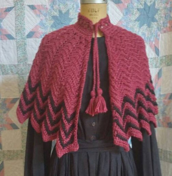 Victorian Blouses, Tops, Shirts, Vests Rose and Black Striped Van Dyk ShawlRose and Black Striped Van Dyk Shawl $60.00 AT vintagedancer.com
