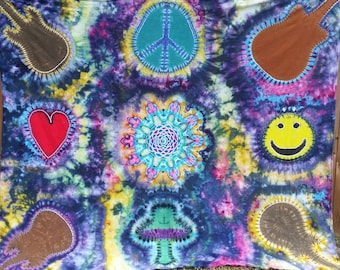 Festival Tapestry, Dorm Tapestry, Large Tie dye tapestry, Mandala tapestry, tiedye tapestry, college tapestry, wall tapestry, Guitar, peace