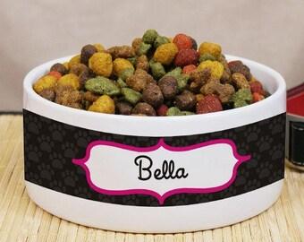Paw Prints Pet Food Bowl, Personalized Ceramic Dog Bowl, Food Bowl With Name, Pet Food Bowl With Name, Cat Food Bowl