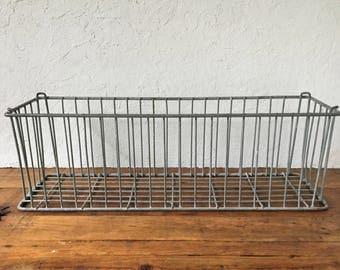 Farmhouse Basket Planter, Wire Basket, Vintage Metal Planter, Antique Garden, Galvanized Metal