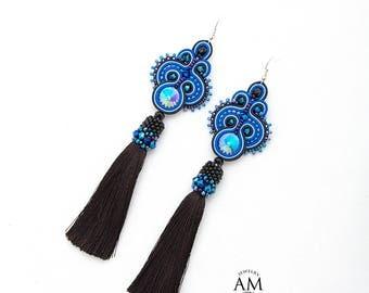 Long Earrings Boho Tassel Earrings Royal Blue Earrings Beaded Soutache Earrings Silk Tassel Jewelry
