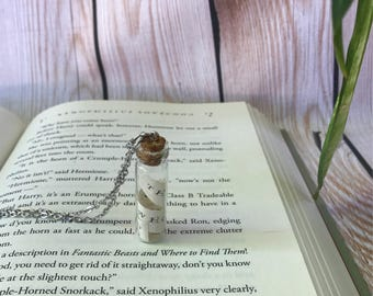 The Boy Who Lived Necklace / Harry Potter and the Sorcerer's Stone Book Page Strip Necklace  / Muggle, Witch, or Wizard Gift
