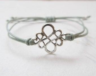 Chinese knot bracelet, ornament bracelet, light green bracelet