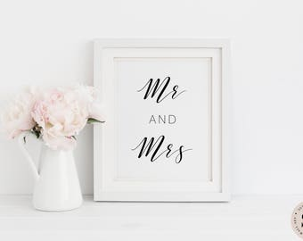 Mr And Mrs Print — Wedding Printable Wall Art Marriage Print Wedding Sign Decor Quote Prints Black And White Print Digital INSTANT DOWNLOAD