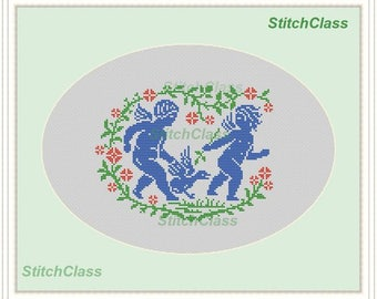 Angels and swan in flowers Cross Stitch Pattern PDF monochrome Angels and swan in flowers cross-stitch patterns