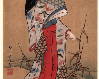 1906, Japanese antique woodblock print, Nishikawa Sukenobu, from Ukiyoe-ha-gashu.