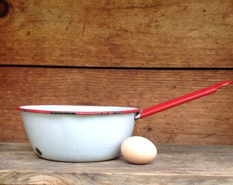 White and Red Enamel Saucepan, Chippy Farmhouse Decor, Vintage Enamelware, Shabby Chic Decor, Chippy Saucepan, Enamelware White and Red Pot