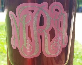Monogram Decal   Monogram Glitter Decal   Yeti Decal   Yeti Tumbler Decal   RTIC Decal   Car Decal   Glitter Yeti Decal   Monogrammed Decal