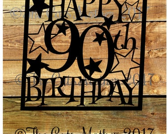 90th Birthday Stars  Paper Cutting Template - Commercial Use