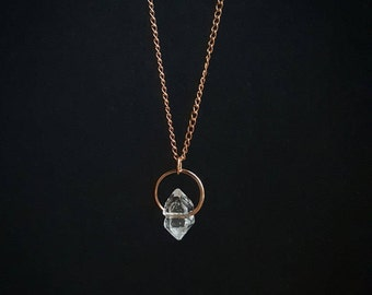 Herkimer Diamond pendant, rose gold crystal point necklace, dainty chain necklace, April birthstone, quartz gemstone, crown chakra healing