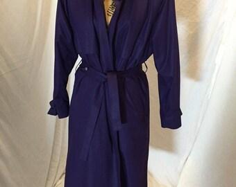 Vintage London Fog Wamsutta - Styled by Londontown - Purple Belted Rain Coat Jacket Zip Out Lining Size 10