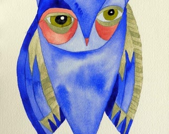 Owl art, whimsical art, original art, watercolor painting, kids room art, nursery art, whimsical animal art, whimsical bird art, owls